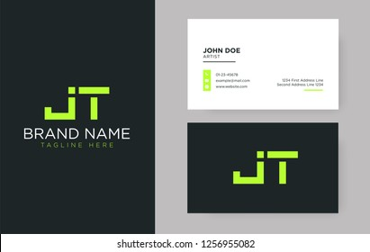 Premium letter JT logo with an elegant corporate identity template