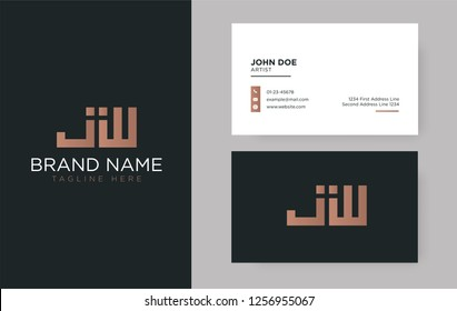 Premium letter JW logo with an elegant corporate identity template