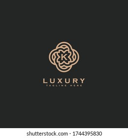 Premium letter K logo icon design. Luxury jewelry frame gem edge logotype. Print monogram initials stamp sign symbol
