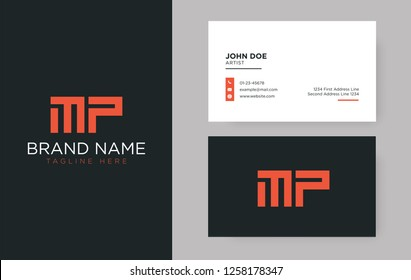 Premium letter MP logo with an elegant corporate identity template