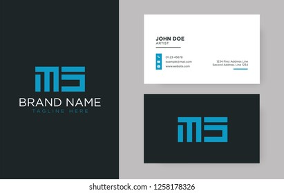 Premium letter MS logo with an elegant corporate identity template