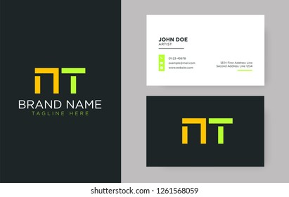 Premium letter NT logo with an elegant corporate identity template