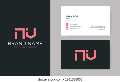 Premium letter NV logo with an elegant corporate identity template