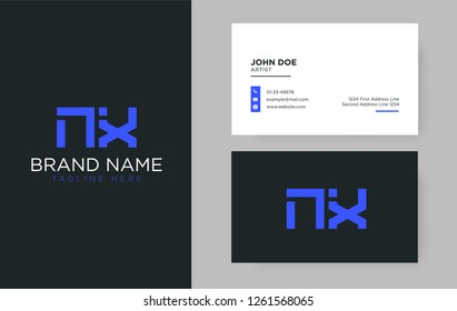Premium letter NX logo with an elegant corporate identity template