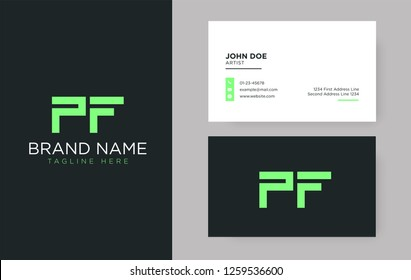 Premium letter PF logo with an elegant corporate identity template