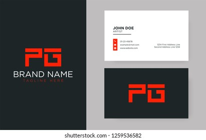 Premium letter PG logo with an elegant corporate identity template