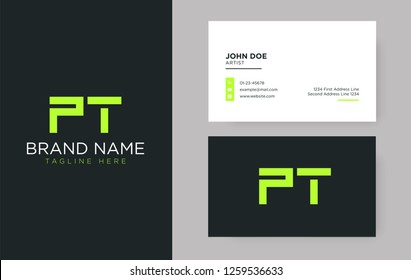Premium letter PT logo with an elegant corporate identity template