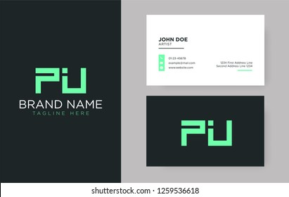 Premium letter PU logo with an elegant corporate identity template
