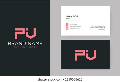 Premium letter PV logo with an elegant corporate identity template