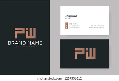 Premium letter PW logo with an elegant corporate identity template