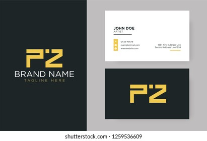 Premium letter PZ logo with an elegant corporate identity template