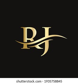 Premium Letter RJ Logo Design with water wave concept. RJ letter logo design with modern trendy