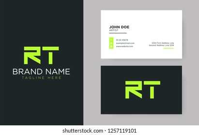 Premium letter RT logo with an elegant corporate identity template
