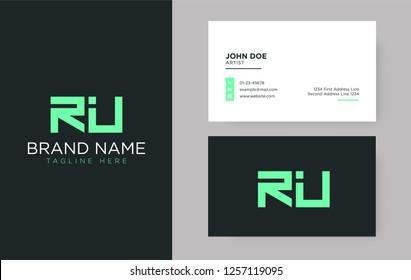 Premium letter RU logo with an elegant corporate identity template