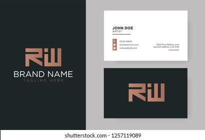 Premium letter RW logo with an elegant corporate identity template