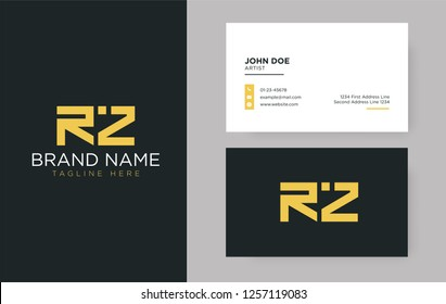 Premium letter RZ logo with an elegant corporate identity template