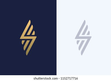 Premium letter S logo design. Luxury abstract geometric logotype. Creative elegant wings vector monogram symbol.