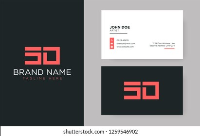 Premium letter SD logo with an elegant corporate identity template