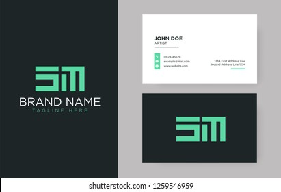 Premium letter SM logo with an elegant corporate identity template