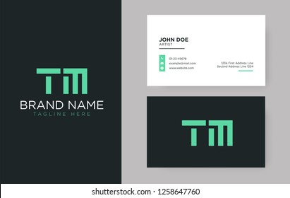 Premium letter TM logo with an elegant corporate identity template