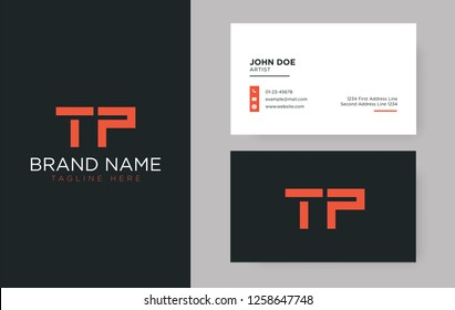 Premium letter TP logo with an elegant corporate identity template