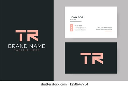 Premium letter TR logo with an elegant corporate identity template