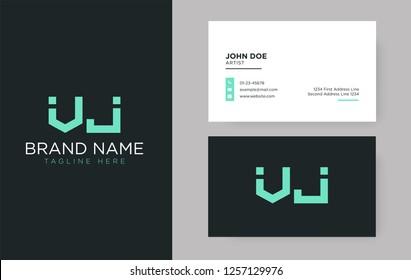 Premium letter VJ logo with an elegant corporate identity template