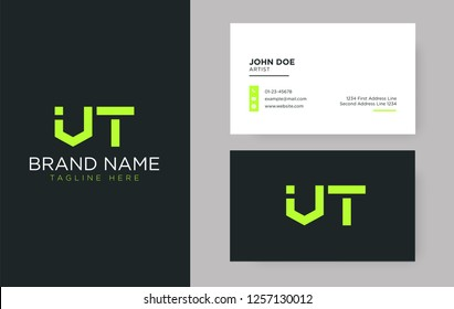 Premium letter VT logo with an elegant corporate identity template