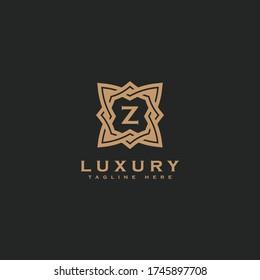 Premium letter Z logo icon design. Luxury jewelry frame gem edge logotype. Print monogram initials stamp sign symbol