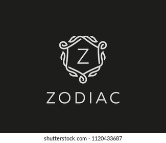 Premium linear shield monogram letter Z logotype. Elegant crest leaf stamp icon vector logo. Luxury alphabet frame symbol.
