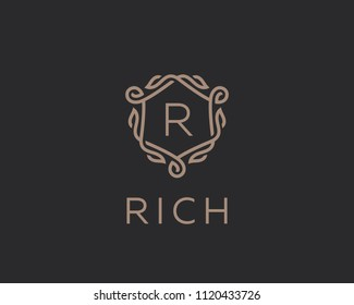 Premium linear shield monogram letter R logotype. Elegant crest leaf stamp icon vector logo. Luxury alphabet frame symbol.