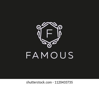 Premium linear shield monogram letter F logotype. Elegant crest leaf stamp icon vector logo. Luxury alphabet frame symbol.