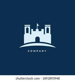 Premium logo castle with flag
