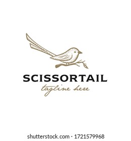 Premium logo illustration of a scissortail bird perched on a branch