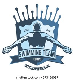 Premium logo swimmer swimming butterfly stroke and crosses the finish line