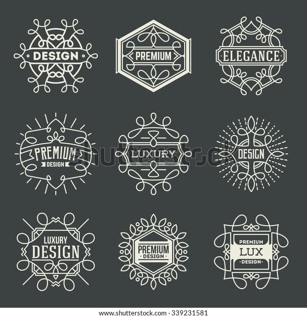 Premium Lux Insignias Logotypes Template Set Stock Vector