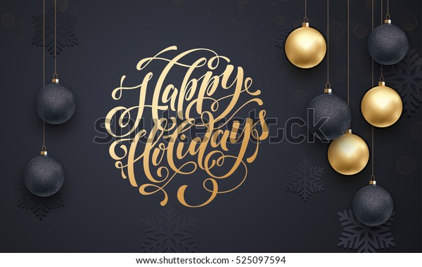 Premium luxury Christmas background for holiday greeting card. Golden decoration ornament with Christmas ball on vip black background with snowflake pattern. Gold calligraphy lettering Happy Holidays