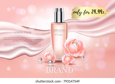 Premium Luxury cosmetic ads mock up, pink glass bottle with dynamic silk satin wind cloth elements with roses, pearls and diamonds isolated on soft bokeh background, 3d vector stock illustration