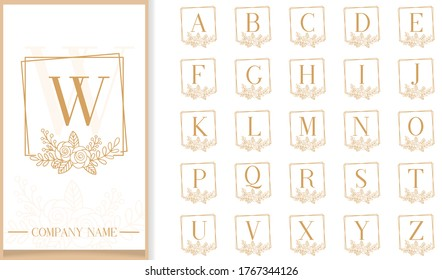 Premium Luxury floral frame letter logo template