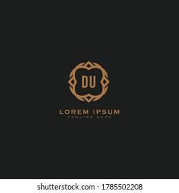 Premium luxury letter DU logo design template. monogram initials sign symbol. elegant jewelry frame icon