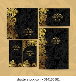 Premium luxury royal vintage victorian set of templates dark brown floral classic background with element of gold  elegant design for book cover, invitation, flyers, brochure, wall paper, backdrops