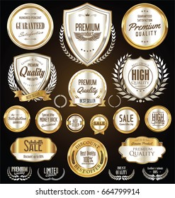 Premium and luxury silver retro badges and labels collection
