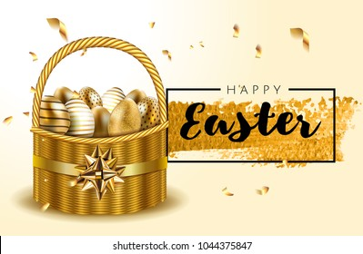 Premium luxury Vip Happy Easter lettering background realistic basket full of golden shine decorate eggs, confetti, golden brush splash. Vector greeting card, ads, poster, flyer, web-banner, article