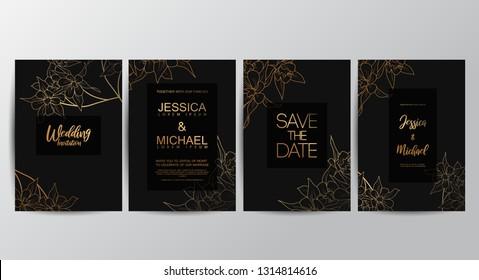 Premium luxury wedding invitation cards with gold geometric line design vector