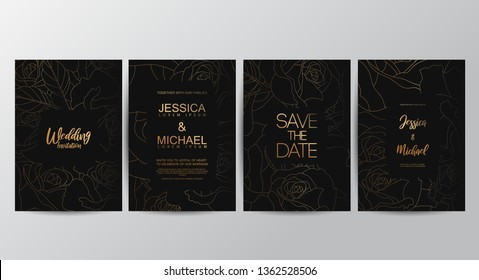 Premium luxury wedding invitation cards with gold geometric line design vector