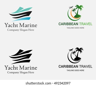 Premium Marine Yacht logo and Caribbean Beach Logo. Vector Illustration isolated on white background.