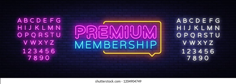 Premium Membership neon sign vector. Exclusive Membership badge Design template neon sign, light banner, neon signboard, nightly bright advertising, light inscription. Vector. Editing text neon sign