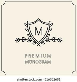 Premium Modern monogram, emblem, logo with a laurel wreath