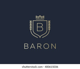 Premium  monogram letter B initials ornate signature logotype. Elegant crest logo icon vector design. Luxury shield crown sign.