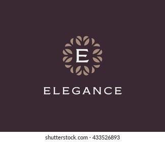 Premium monogram letter E initials logo. Universal symbol icon vector design. Luxury abc leaf logotype.